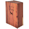 Cedar Wood Dog Book Urn shown with dog engraving