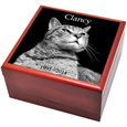 Cherry Finish Wood Photo Tile Cat Urn Box