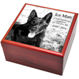 Cherry Finish Wood Photo Tile Dog Urn Box