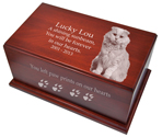 Cat Urns- Classic Dark Cherry Finish with Beveled Edges engraved