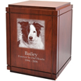 Large Dog Urns: Cherry Finish Wood Grooved Vertical Urn