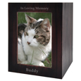 Dark Brown Wooden Box Cat Urn with Photo Window- Large