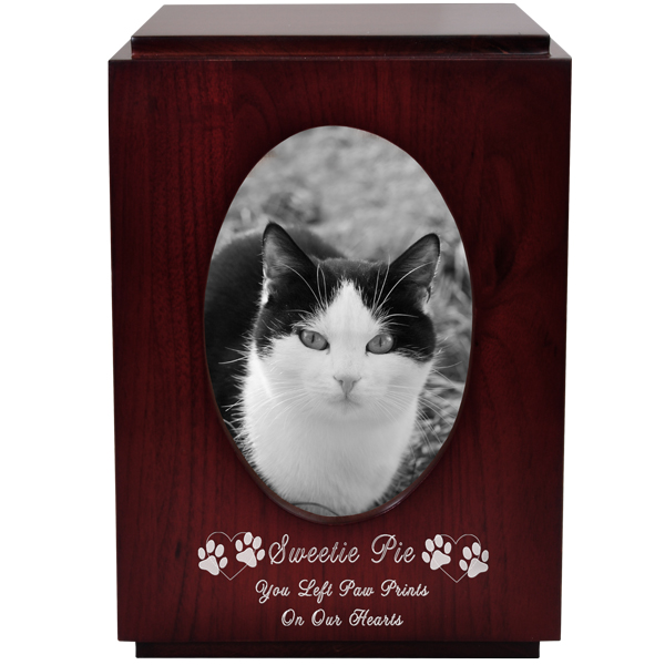 Cherry Finish Wood Cat Urn With Oval Photo Frame