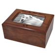 Pet wood urn shown with silver metal photo of dog + engraving