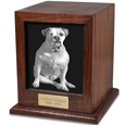 Elegant Photo Wood Dog Urn- Free Engraving