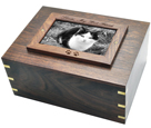 Photo Wood Cat Urn shown with b&w photo and wood engraving