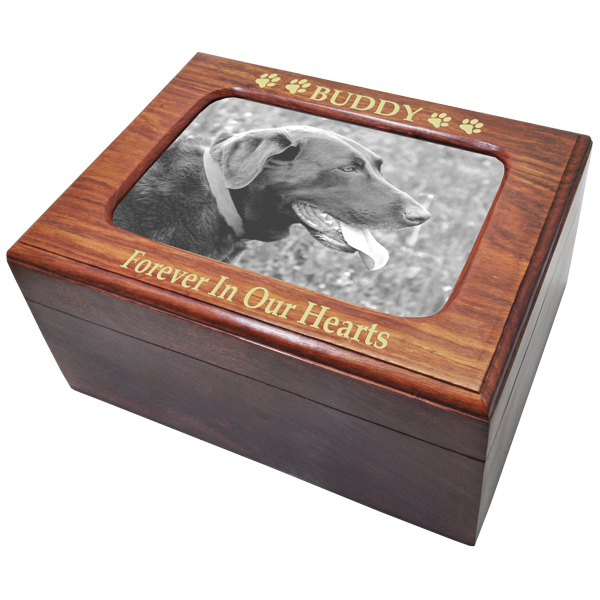 Memory Chest Wooden Box Pet Urn With Photo Window Large
