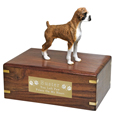 Pet Urns: Boxer Brindle Figurine Wood Urn, Uncropped
