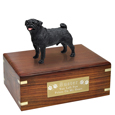 Pet Urns: Pug Black Figurine Wood Urn