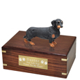 Pet Urns: Dachshund Black Figurine Wood Urn