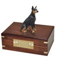 Pet Urns: Black Doberman Pinscher Figurine Wood Urn