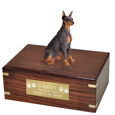 Pet Urns: Doberman Pinscher Red Sitting Figurine Wood Urn- Ears Up