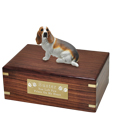 Pet Urns: Basset Hound Figurine Wood Urn