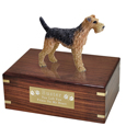 Pet Urns: Airedale Figurine Wood Urn