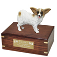 Pet Urns: Papillon Brown & White Figurine Wood Urn