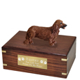 Pet Urns: Dachshund Longhaired Red Figurine Wood Urn