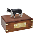 Pet Urns: Border Collie Black & White Figurine Wood Urn