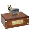Pet Urns: Silky Terrier Silver Figurine Wood Urn