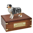 Pet Urns: Australian Shepherd Blue Figurine Wood Urn