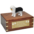Pet Urns: Old English Sheepdog Figurine Wood Urn