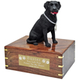 Labrador Retriever Black Dog Figurine Wood Urn