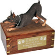 Doberman Pinscher Red Figurine Wooden Urn