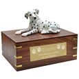 Pet Urns: Dalmatian Dog Figurine Wood Urn- Laying