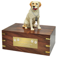 Pet Urns: Labrador Retriever Yellow Dog Figurine Wood Urn