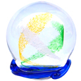 Pet Memory Glass Yellow and Green Swirl with Ocean Blue Wave