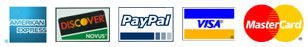 Pay with any of these credit cards or PayPal or Google Checkout.