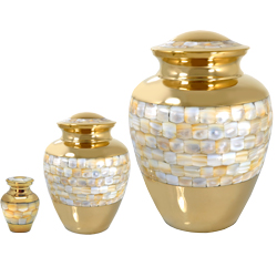 Matching mother of pearl urns in mini, small & full-size