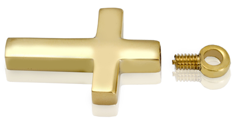 secure threaded enclosure shown of pet cremation jewelry: brass cross pendant