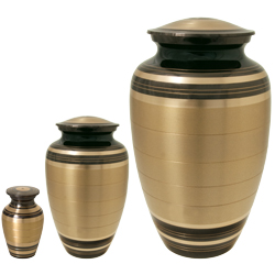 black and brass striped pet urn shown in mini and large size