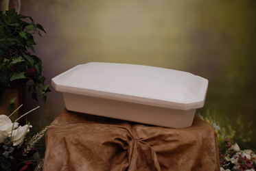 exterior view shown of white petcasket