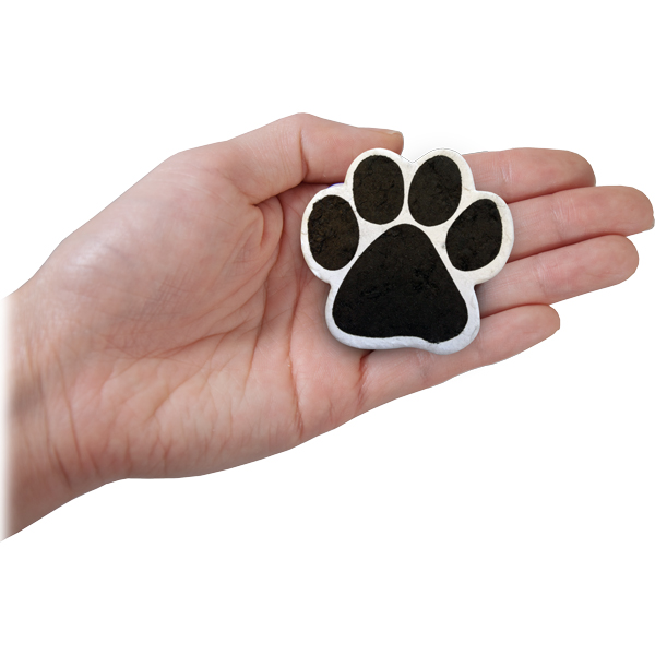 plantable paw print shown in hand for size scale