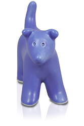 front view of puppy figure ceramic cremation urn