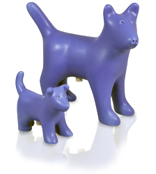 matching small and large dog figure ceramic cremation urn shown together