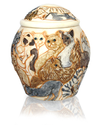 another view of cat heaven pet cremation urn