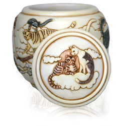 detail of lid with cats in heaven on forever and ever cat cremation urn