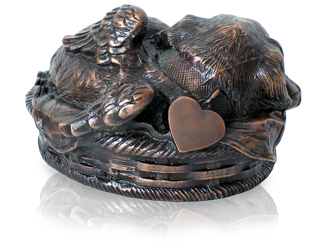 sleeping angel dog metal copper urn shown with non-engraved tag