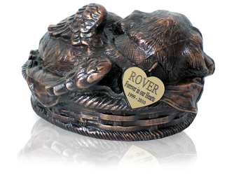 sleeping angel dog metal urn copper with engraved heart tag