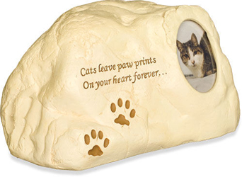 additional view of pawprints, poem, photo cat cremation urn
