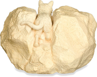 back view of came, purred, conquered cremation cat urn