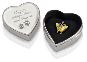 Silver Heart Pet Cremation Box shown with open lid