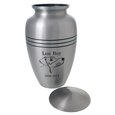 Shown with open lid Large Dog Urn: Elegant Pewter- Line Drawing from Photo
