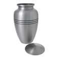 Large Dog Urn - Traditional Pewter shown with open lid