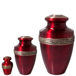 Matching scarlet brass mini urn, medium urn and large pet urn