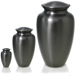simple grey pet urn shown in mini and large size