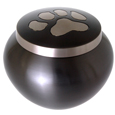 cat pawprint black urn