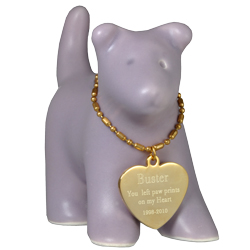 urn keepsake shown with engraved heart pendant